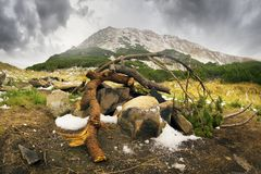 Harm from tourists in the Carpathians royalty free stock images