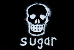 Harm white sugar forming a skull. With text sugar isolated on a black background. Stock image stock photos