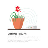 Harm of wi-fi concept illustration. Wi-fi danger vector illustration concept. Wireless signal is influencing on green plant, which leads to leaves fade Stock Photo