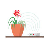Harm of wi-fi concept illustration. Wi-fi danger vector illustration concept. Wireless signal is influencing on green plant, which leads to leaves fade Stock Photography