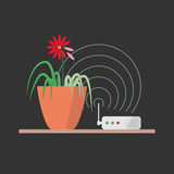 Harm of wi-fi concept illustration. Wi-fi danger vector illustration concept. Wireless signal is influencing on green plant, which leads to leaves fade Stock Image