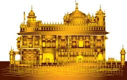 Harmandir Sahib: Gouden Tempel Rd, Amritsar, Punjab in vector Royalty-vrije Stock Afbeelding