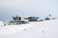 Harmelekopfbahn and Seefelder Jochbahn cable car stations at Rosshutte in Seefeld Stock Photo