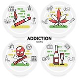 Harmful Addictions Concept. With cigarette marijuana leaves sick lungs hookah skull alcohol money dice playing cards drugs mushroom syringes line icons isolated Stock Photos