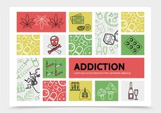 Harmful Addictions Infographic Concept. With marijuana leaves money chips dice skull cigarettes drugs mushrooms drink syringes playing cards sick lungs line Stock Photography