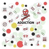 Harmful Addictions Line Icons Collection. With skull sick lungs drugs gambling mushrooms narcotic hookah tubes drink money in circles isolated vector Royalty Free Stock Photography