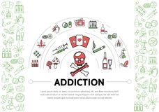 Harmful Addictions Template. With skull tubes drugs tobacco marijuana leaves chips money playing cards drink dice hookah cigarette syringes mushrooms line icons Royalty Free Stock Photos