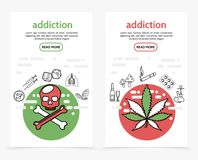 Harmful Addictions Vertical Banners. With skull crossbones syringes dice sick lungs marijuana tobacco leaves alcohol drink mushrooms cigarette drugs hookah line Royalty Free Stock Images
