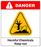 Harmful chemicals keep out hazardous to aquatic environment , hazard warning danger banner , isolated vector Royalty Free Stock Image
