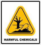 Harmful chemicals keep out hazardous to aquatic environment , hazard warning danger banner , isolated vector Royalty Free Stock Images