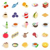 Harmful dessert icons set, isometric style. Harmful dessert icons set. Isometric set of 25 harmful dessert vector icons for web isolated on white background Royalty Free Stock Image