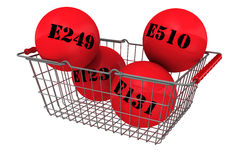 Harmful food additives in the shopping basket Royalty Free Stock Photos