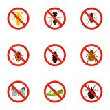 Harmful insects icons set, flat style Stock Images
