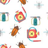 Harmful insects pattern, cartoon style Royalty Free Stock Photography