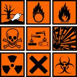 Harmful signs. Chemical hazard signs vector illustration Royalty Free Stock Photos