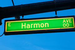 Harmon Avenue. Road Sign of Harmon Avenue Stock Images