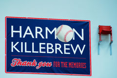 Harmon Killebrew`s Memorial. The Seat Marking Minnesota Twins` Harmon Killebrew`s last Home Run was installed at the Mall of American in Minnesota Stock Image