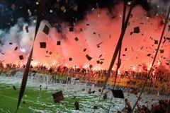 Harmonia de futebol entre Aris e júniors de Boca Fotografia de Stock Royalty Free