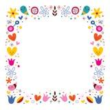 A harmonia do amor da natureza floresce a beira do quadro do vetor da arte abstrato Fotografia de Stock