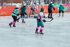 A harmonia do campeonato mundial do hóquei em gelo entre as equipes imagem de stock