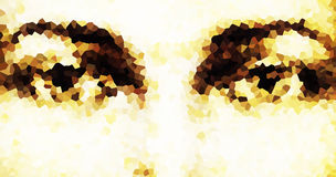 Harmonic peaceful spiritual eyes, graphic collage on white background. mosaic effect. Stock Image