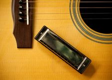 Harmonica and acoustic guitar Royalty Free Stock Photos