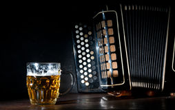 Harmonica and Beer Royalty Free Stock Image