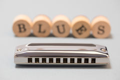Harmonica diatonique de bleus Images stock