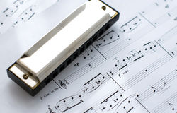Harmonica on records Royalty Free Stock Image