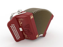 Harmonica red. On white background Royalty Free Stock Images