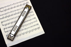Harmonica on piece song Royalty Free Stock Images