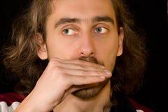 смогите человек harmonica играя увиденный t Стоковая Фотография
