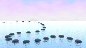 Harmonie. Chemin de caillou sur l'eau illustration stock