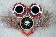 Harmonie créative, grain de café, tasse de café, baies mûres Photo libre de droits