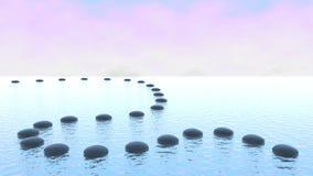 Harmonie. De weg van de kiezelsteen op het water Stock Fotografie
