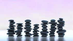 Harmonie et équilibre. Beaucoup de piles de caillou sur l'eau Image stock