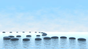 Harmoniekonzept. Kieselpfad auf Wasser Lizenzfreies Stockfoto