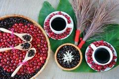 Harmonii pojęcie, kawowa fasola, czerni piec kawiarni Zdjęcia Royalty Free
