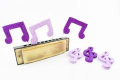 Harmonika met muzikale cijfers royalty-vrije stock foto's