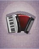 Harmonika met rode blaasbalgen Royalty-vrije Stock Afbeeldingen