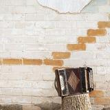 Harmonika op de stomp stock afbeeldingen