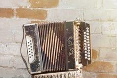 Harmonika op de stomp stock fotografie