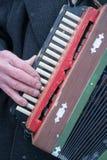 Harmonikaspelers verouderde handen royalty-vrije stock afbeelding
