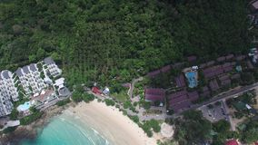 Harmonious asian coast, small island, from a quadrocopter stock footage