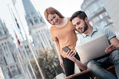 Free Harmonious Coworkers Discussing Project Outdoors Royalty Free Stock Image - 112180136