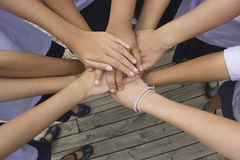 Harmonious, hand teamwork Stock Photo