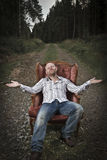 Harmonious and Happy man in the Woods Royalty Free Stock Photo