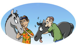 Harmonious vs obsessive passion. Cartoon-style illustration. Two different kind of passion for horses: the harmonious one and the obsessive one Royalty Free Stock Images