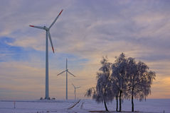 Harmonious Winterlandscape With Windturbines Stock Photography