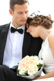 Harmonious young newlywed couple Stock Photos